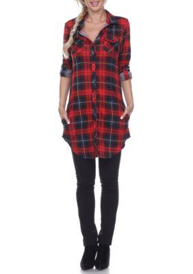 Plaid Print Stretchy Button Front Long Sleeves Tunic
