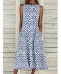 Empire Waistline General Print Crew Neck Sleeveless Vintage Cotton Tea Length Maxi Dress