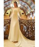 Off the Shoulder  Knit Mermaid Wedding Dress  with a Chapel Train