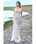 Petite Sexy Mermaid Lace Applique Vintage Keyhole Beaded Natural Waistline 2019 Sleeveless Spaghetti Strap Wedding Dress with a Brush/Sweep Train
