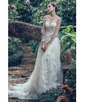 A-line  Long Sleeves  Natural   Waistline Illusion Button Closure Applique Lace Flower(s) Beaded 2018 Wedding Dress  with a Court Train