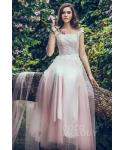 Sheath Natural   Waistline Applique Floor Length Tulle Sleeveless  Sheath Dress/Bridesmaid Dress  With a Sash