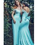 Knit Natural   Waistline Mermaid  Applique  Cap Sleeves  Scoop Neck Bridesmaid Dress  with a Brush/Sweep Train  With a Bow(s)