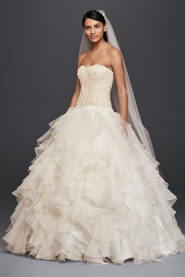 Petite Strapless Beaded Back Zipper Applique Corset Waistline Wedding Dress with a Chapel Train With Ruffles
