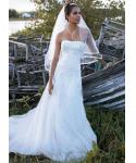 A-line Strapless Corset Waistline Beaded Belted Lace-Up Applique Wedding Dress with a Chapel Train