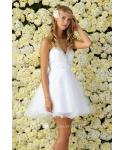A-line Sweetheart Ruched Pleated Beaded Back Zipper Tulle Short Sleeveless Prom Dress With Ruffles