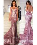 Mermaid Sleeveless Spaghetti Strap Floor Length Sequined Applique Prom Dress/Party Dress with a Court Train