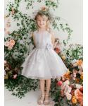 Girls Tiered Beaded Crystal Organza  Dress