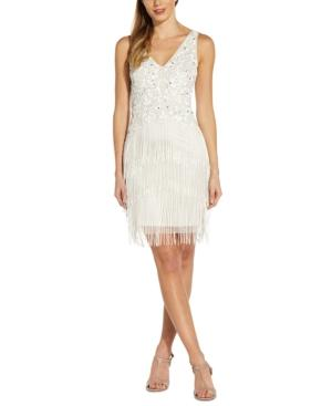 Cocktail Frill Trim Beaded Glittering Polyester Dress