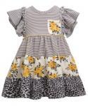 Toddler Animal Striped Floral Print Pocketed Tiered Flutter Short Sleeves Sleeves Knit Dress