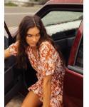 Button Closure Wrap Striped Print Elasticized Waistline Puff Sleeves Sleeves Midi Dress With Ruffles