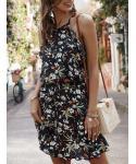 Shift Floral Print Short Sleeveless Halter Shirt Dress