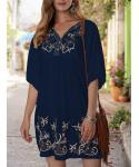 Short Sleeves Sleeves Embroidered Short Shift Floral Print Shirt Beach Dress