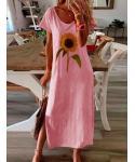 Plus Size Short Sleeves Sleeves Floral Print Crew Neck Vintage Party Dress/Midi Dress