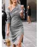 Sheath Long Sleeves Off the Shoulder Plaid Print Sheath Dress/Midi Dress