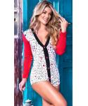 V-neck Fitted Wrap Polka Dots Print Romper