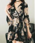 V-neck Floral Print Hidden Back Zipper Wrap Darts Dress With a Sash