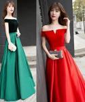 V-neck Floor Length Jeweled Off the Shoulder Choker Evening Dress