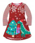 Toddler Flowy Long Sleeves Striped Print Party Dress